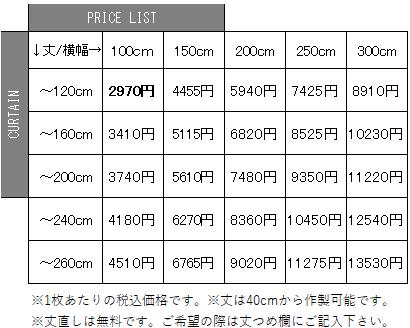 厚地カーテンAランク価格表