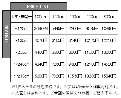 厚地カーテンSランク価格表
